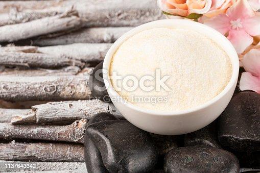 Collagen protein powder in the bowl - Hydrolyzed