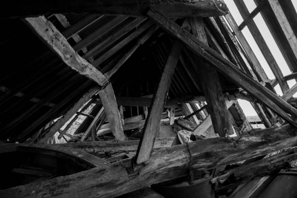 Collapsed Barn Roof stock photo