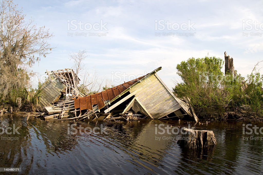 Collapsed building after hurricane in New Orleans stock photo