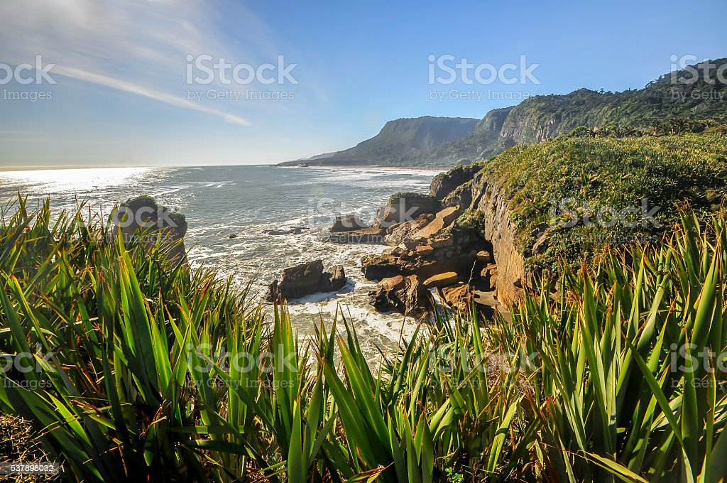 Collapsed cliff in Punakaiki, New Zealand stock photo