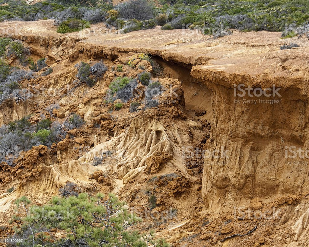 Collapsed cliffl in Torrey Pines State Park stock photo
