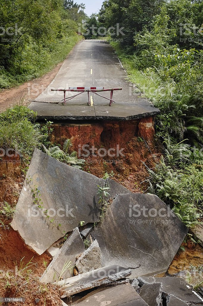 Collapsed Road stock photo