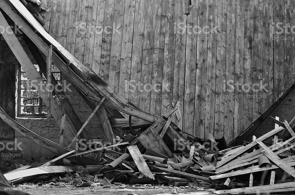 collapsed roof house royalty-free stock photo