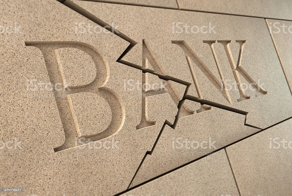 Collapsing bank sign High quality 3d rendering of a sandstone 'BANK' sign breaking up with cracks Architectural Feature Stock Photo