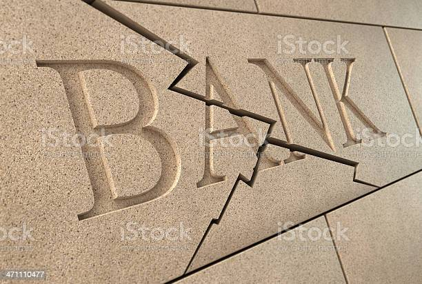 Collapsing Bank Sign Stock Photo - Download Image Now