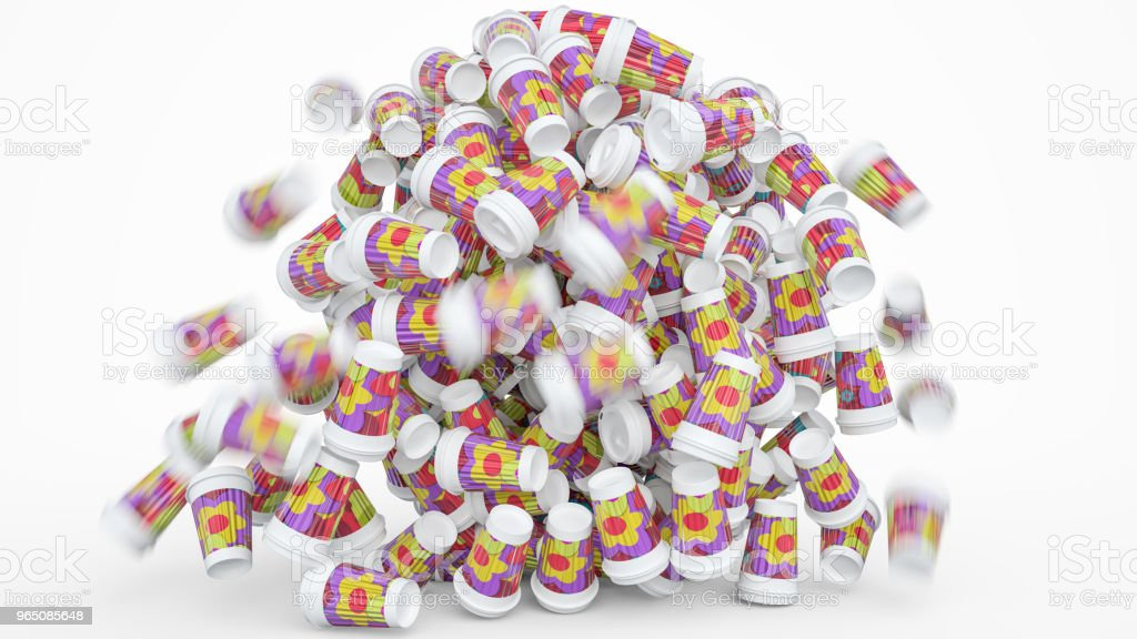 Collapsing pile of coffee to go cups - 3D Rendering royalty-free stock photo