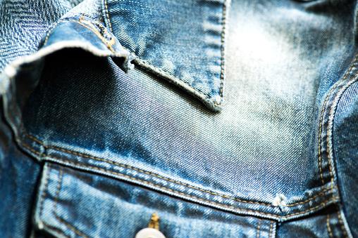 Collar detail of denim jacket
