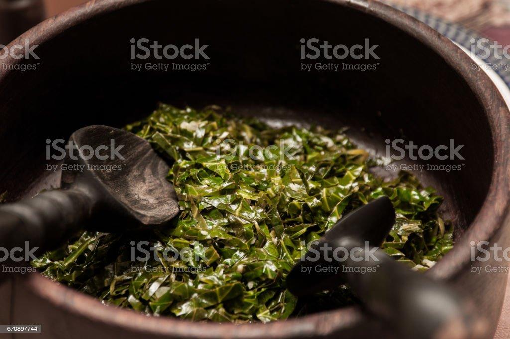Collard green in a bowl stock photo