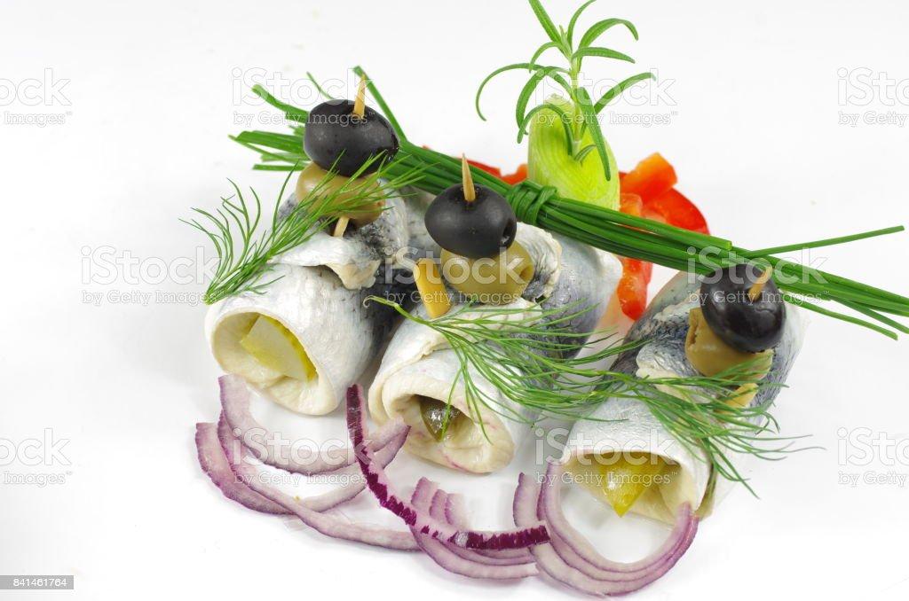 collared herrings stock photo