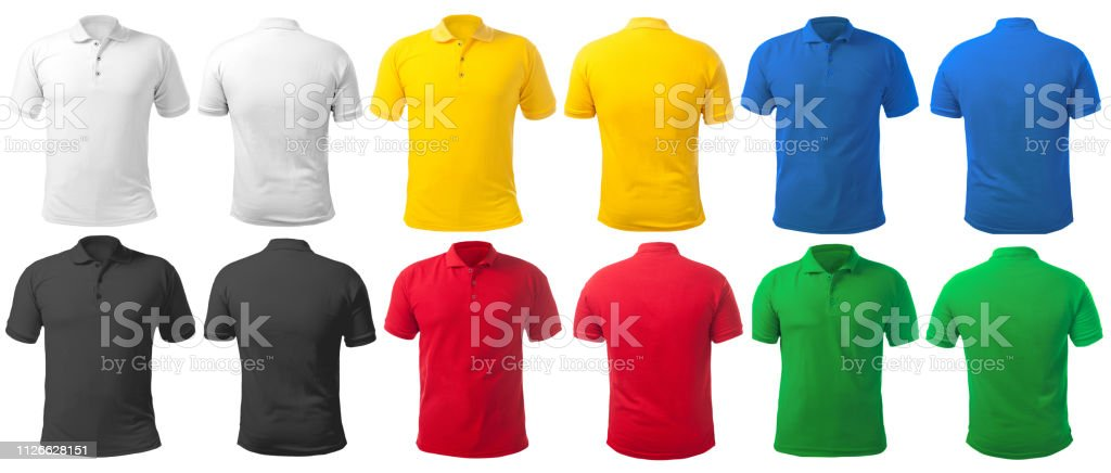 Collared Shirt Design Template in Many Color stock photo