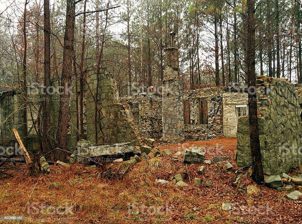 Collasped Granite Wall stock photo