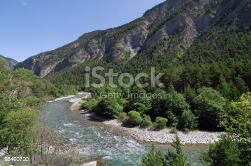 Colle Della Maddalena French Alps Ubayette River Stock Photo & More Pictures of Blue