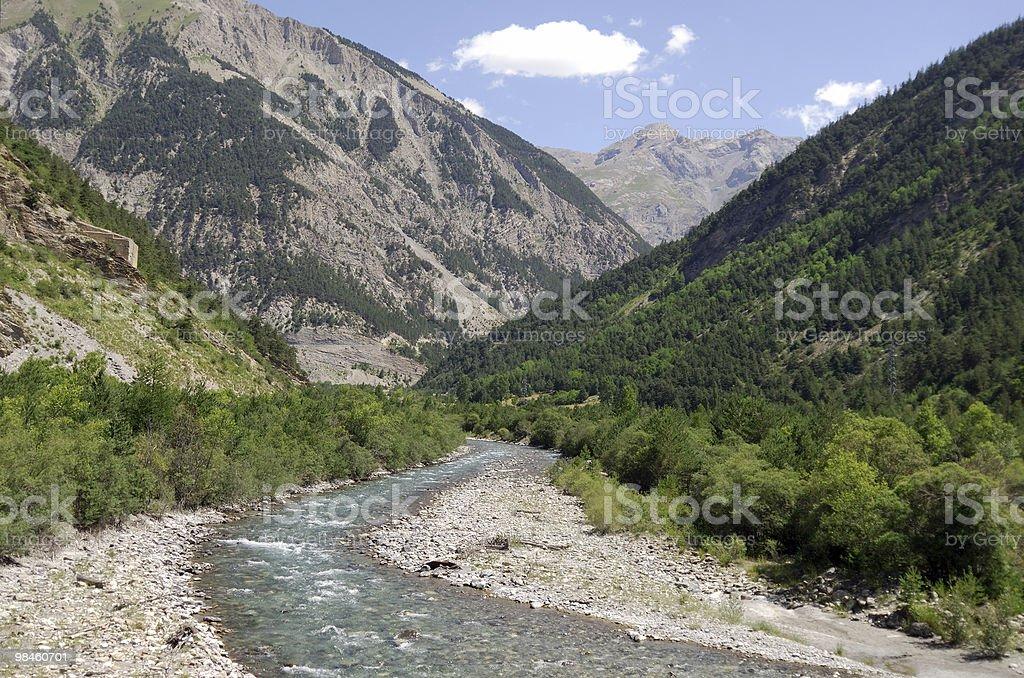 Colle della Maddalena (Col du Larche), French Alps. Ubayette river royalty-free stock photo