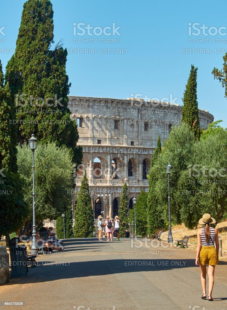Colle Oppio park with the Colosseum in background. Rome, Lazio. royalty-free stock photo