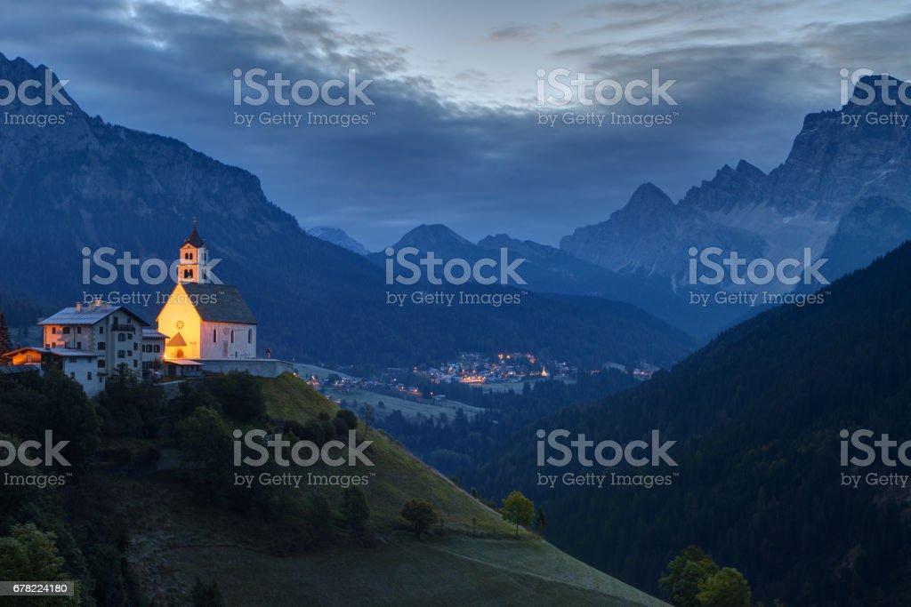 Colle Santa Lucia at sunrise, Italy stock photo