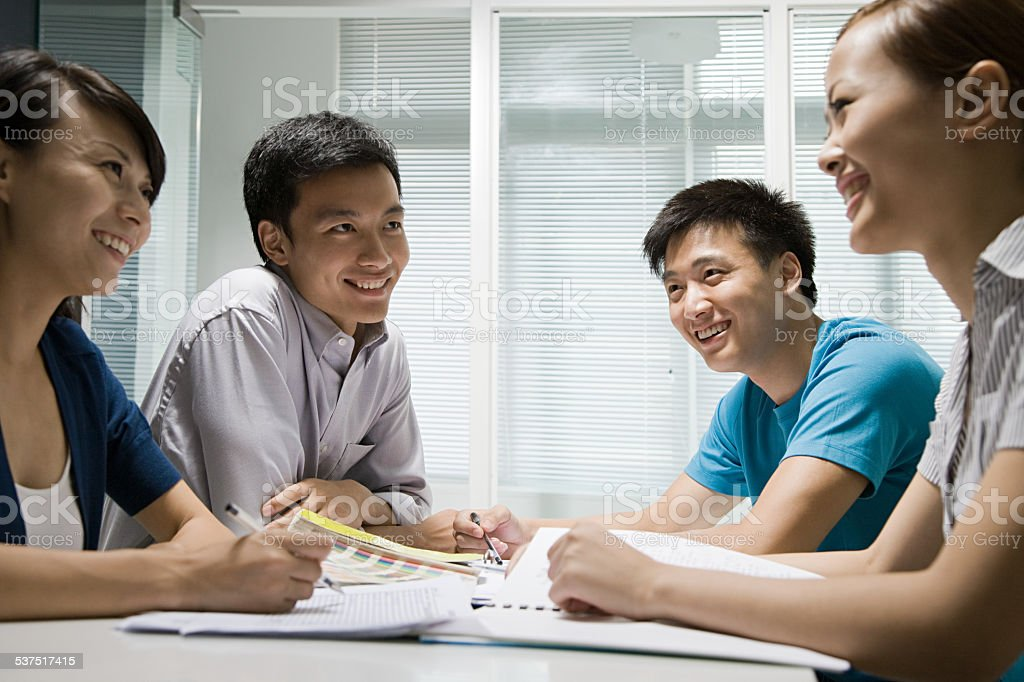 Colleagues in a meeting stock photo
