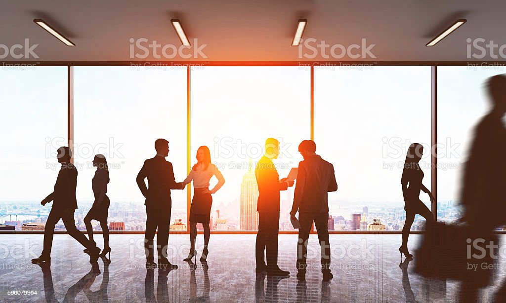 Colleagues meeting in lobby. royalty-free stock photo