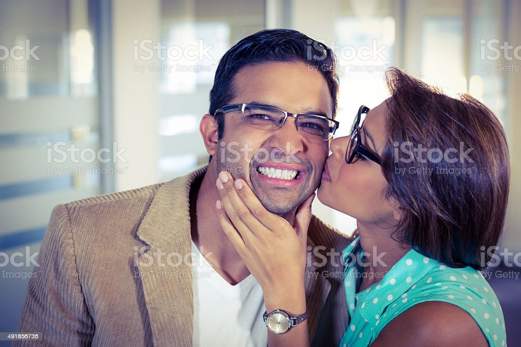 Colleagues showing their affection stock photo
