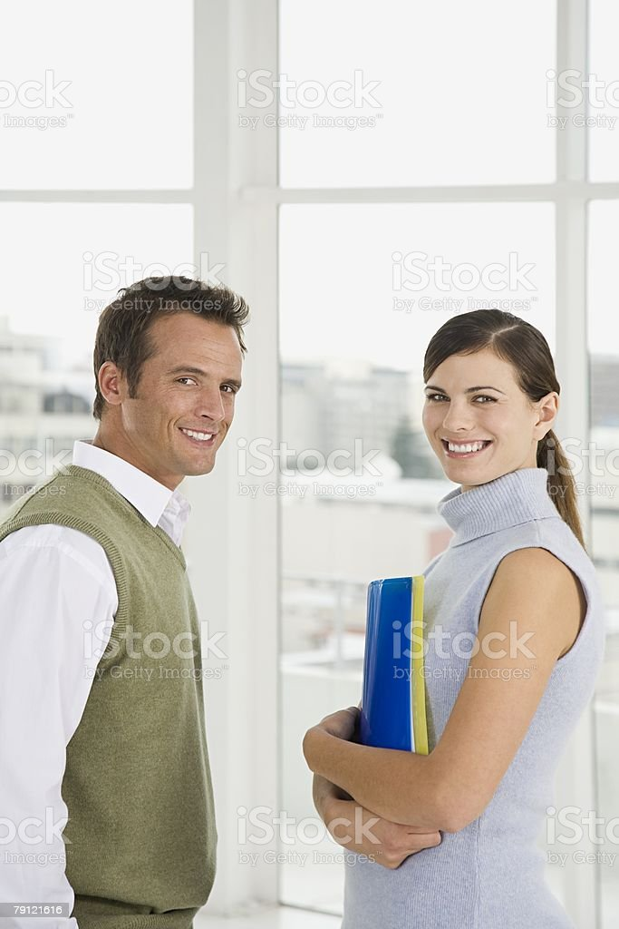 Colleagues smiling royalty-free stock photo