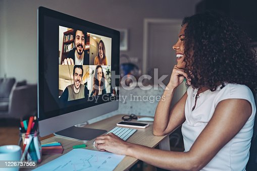 Group of people having a video conference