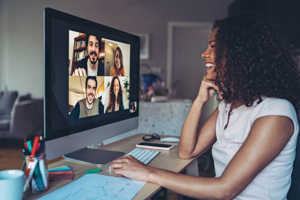 Colleagues talk online from their homes Group of people having a video conference video call stock pictures, royalty-free photos & images
