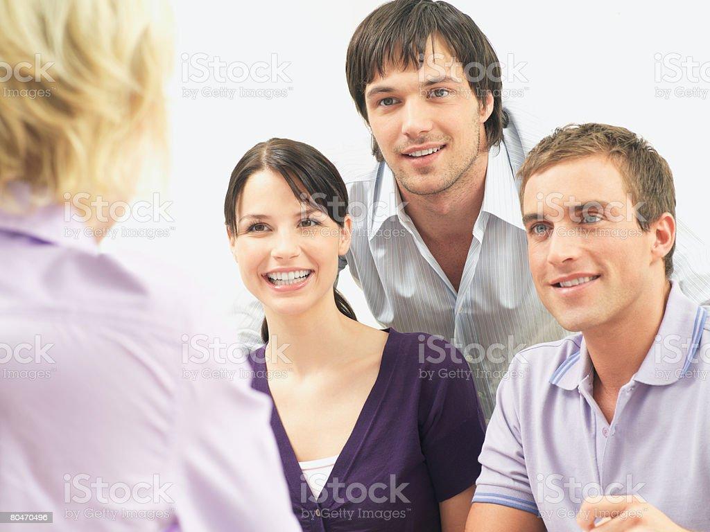 Colleagues talking royalty-free stock photo