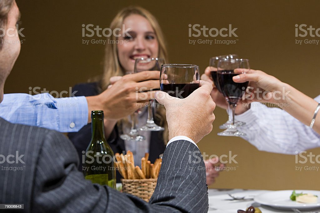 Colleagues toasting with wine royalty-free 스톡 사진