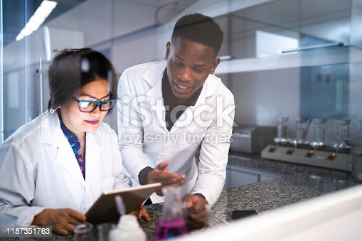 Colleagues working in laboratory