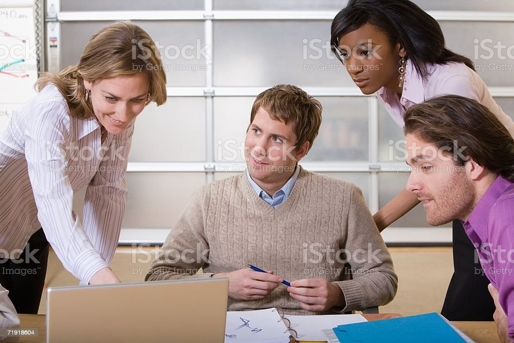 Colleagues working on project royalty-free stock photo