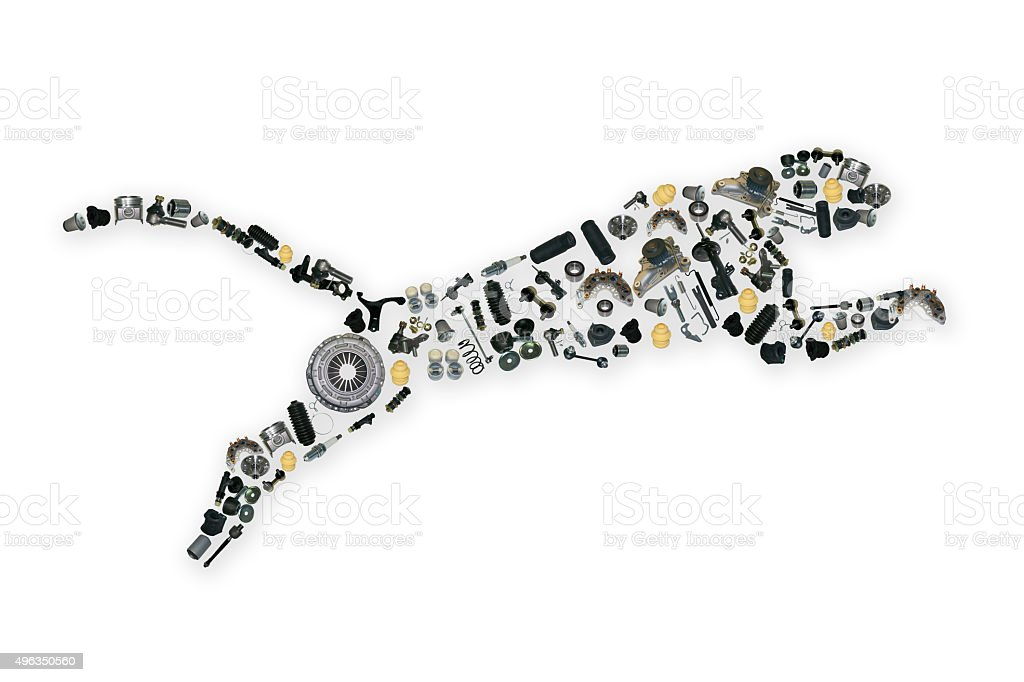 Collected by many spare parts of the jaguar stock photo