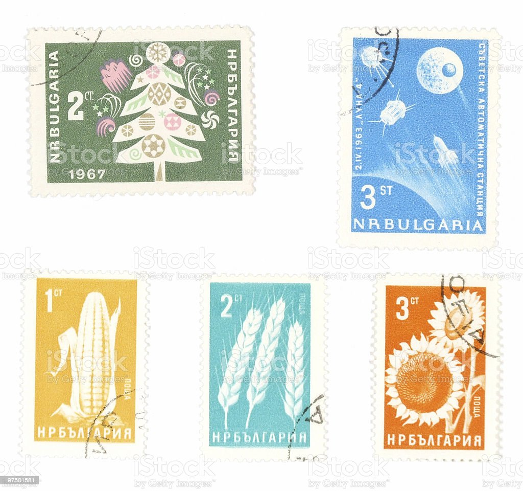 Collectible postage stamps from Bulgaria royalty-free stock photo