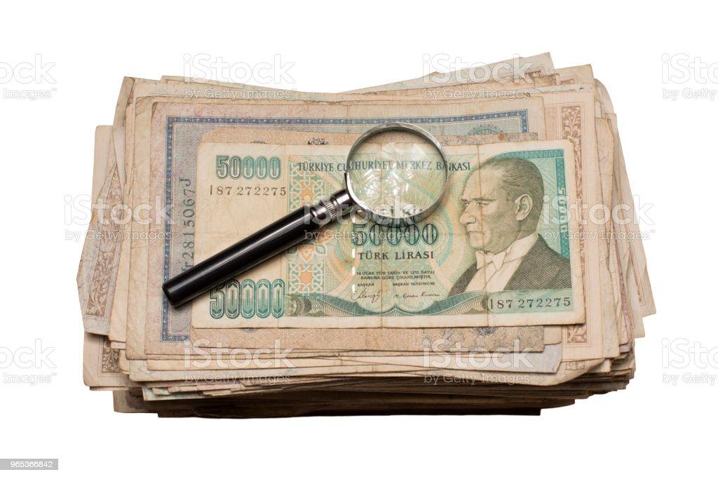 수집품들을 선보이는 동전 Banknotes 어워드란 - 로열티 프리 0명 스톡 사진