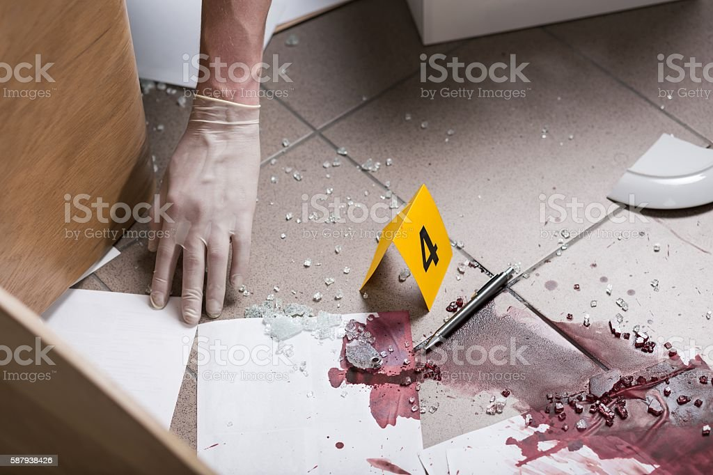 Collecting evidence of crime stock photo