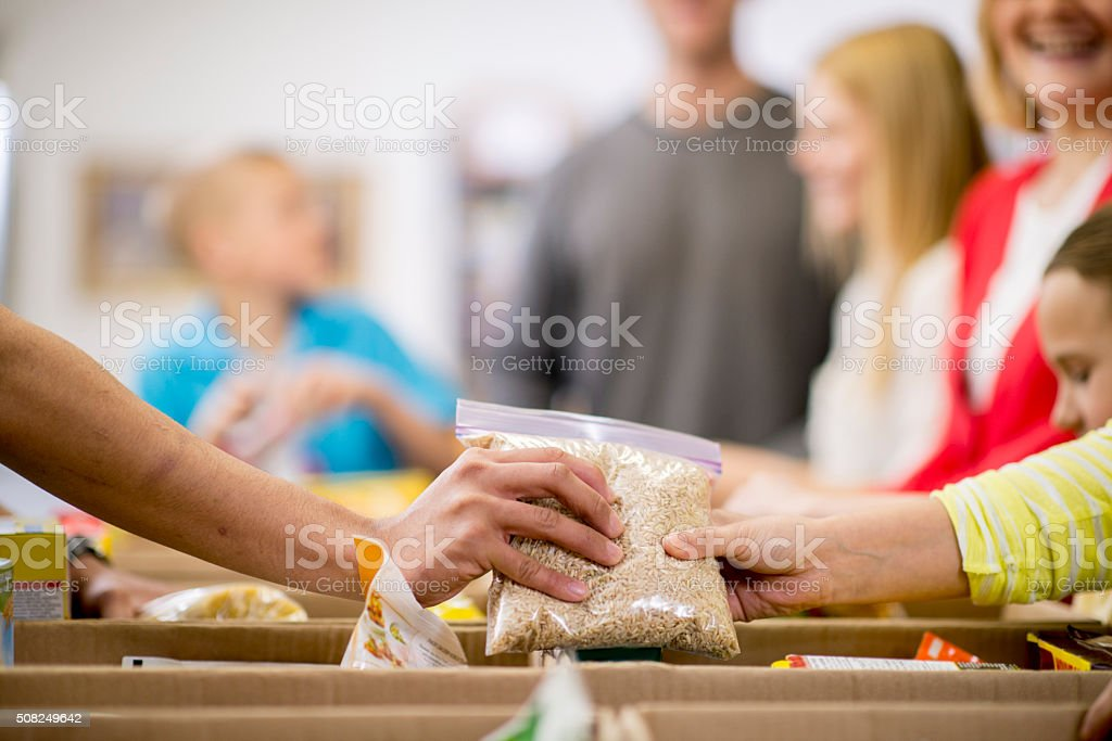 Collecting Food for Donations stock photo