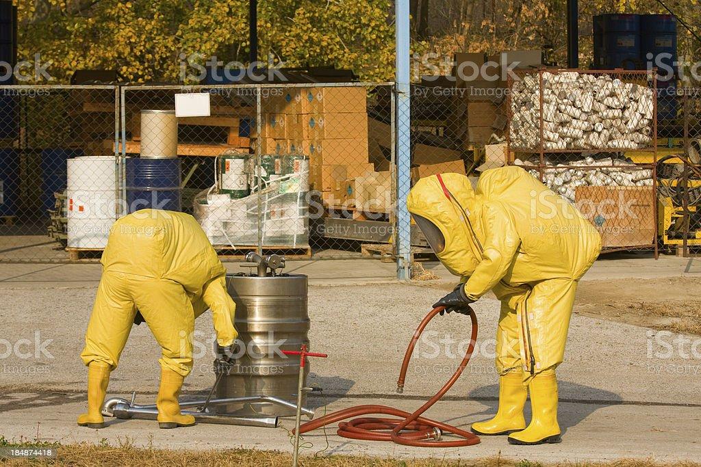 Collecting hazardous material stock photo