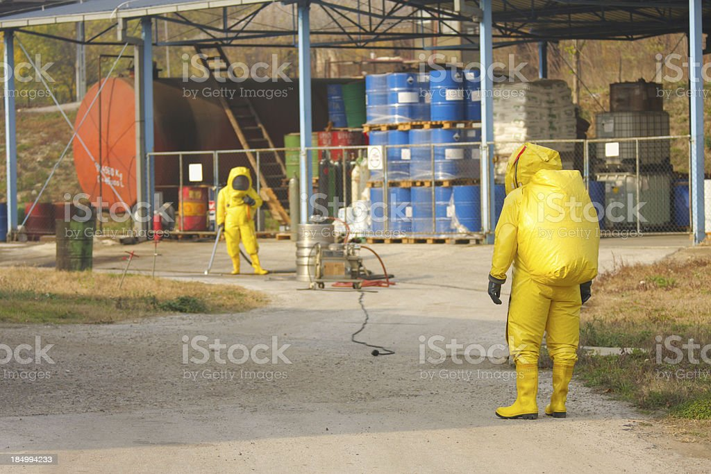 Collecting hazardous material stock photo