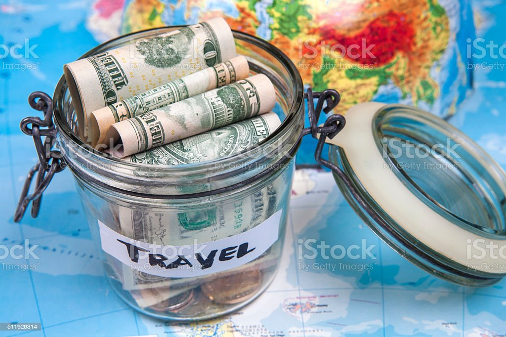 Collecting money for travel stock photo