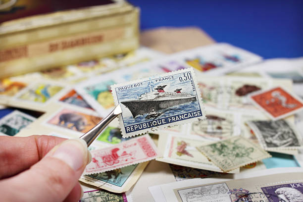 collecting stamps stock photo