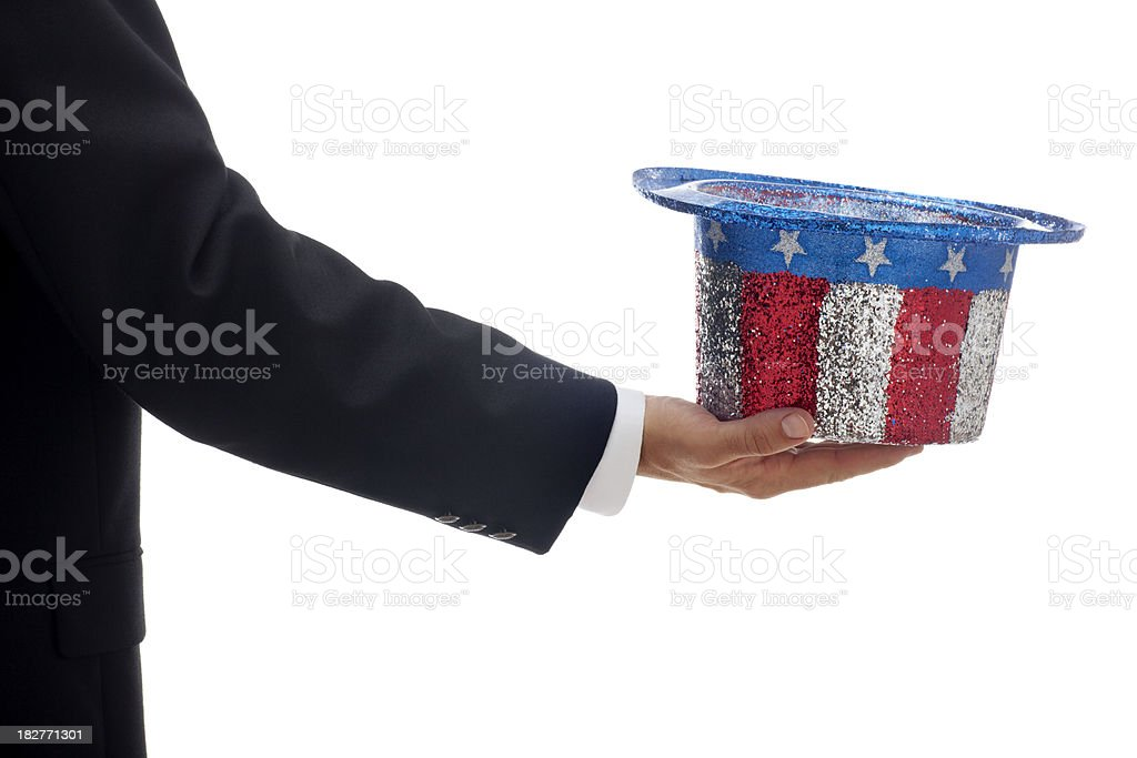 Collecting Taxes with a Red White and Blue Hat stock photo