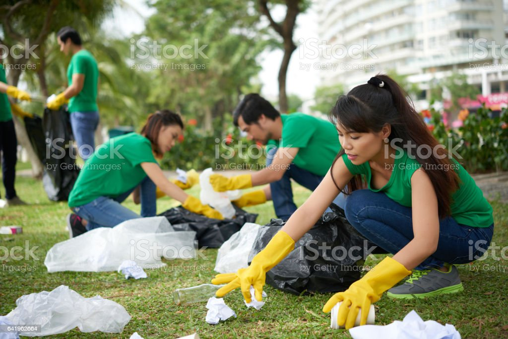 Collecting trash from park lawn stock photo