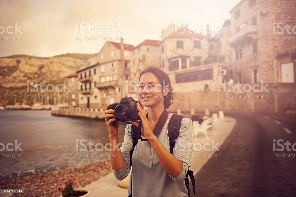 Collecting vacation memories stock photo
