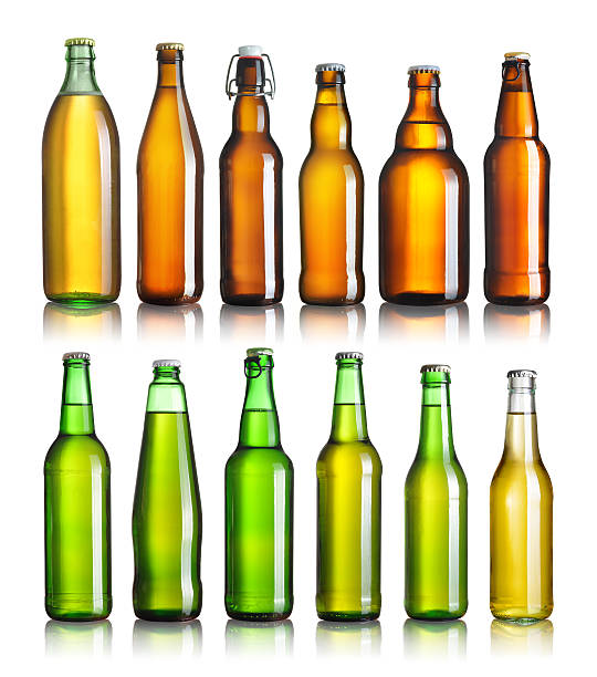 Collection beer bottles stock photo