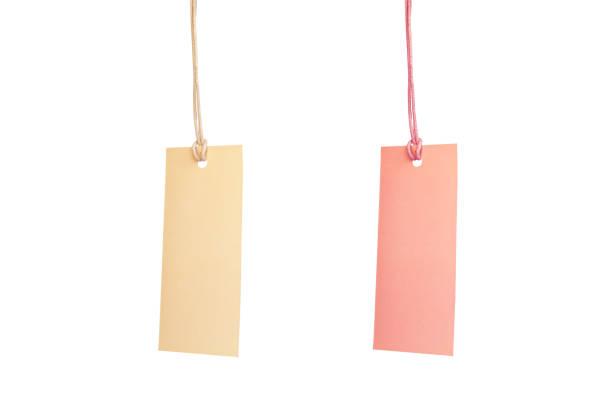 coleção marrons e rosa em branco papelão etiquetas de preço, notas de rótulo em fundo branco. - tag - fotografias e filmes do acervo