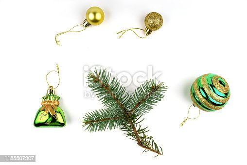 1062679964 istock photo Collection Christmas decoration isolated on white background. Green color 1185507307