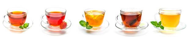 copo de coleção de chá e morango, hortelã e limão em branco - chá bebida quente - fotografias e filmes do acervo