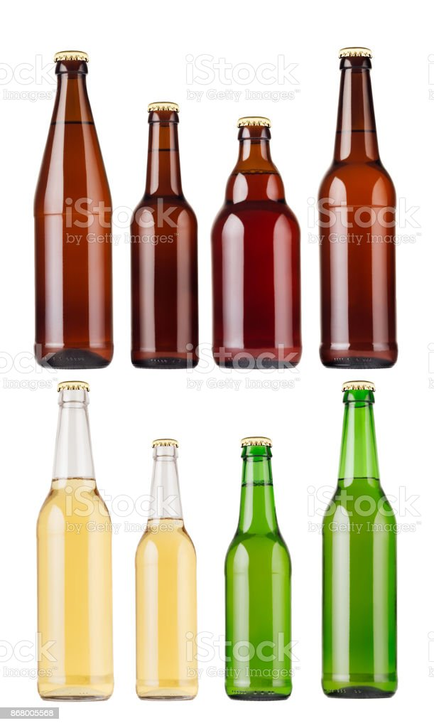 Collection Different Types And Colors Beer Bottles Isolated Mock Up