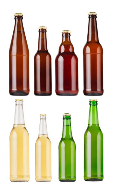 Collection different types and colors beer bottles, isolated, mock up. Template for advertising, design, branding identity. stock photo