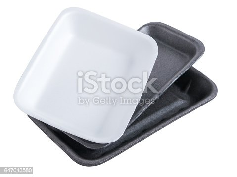 istock Collection disposable styrofoam empty food tray isolated on white background 647043580