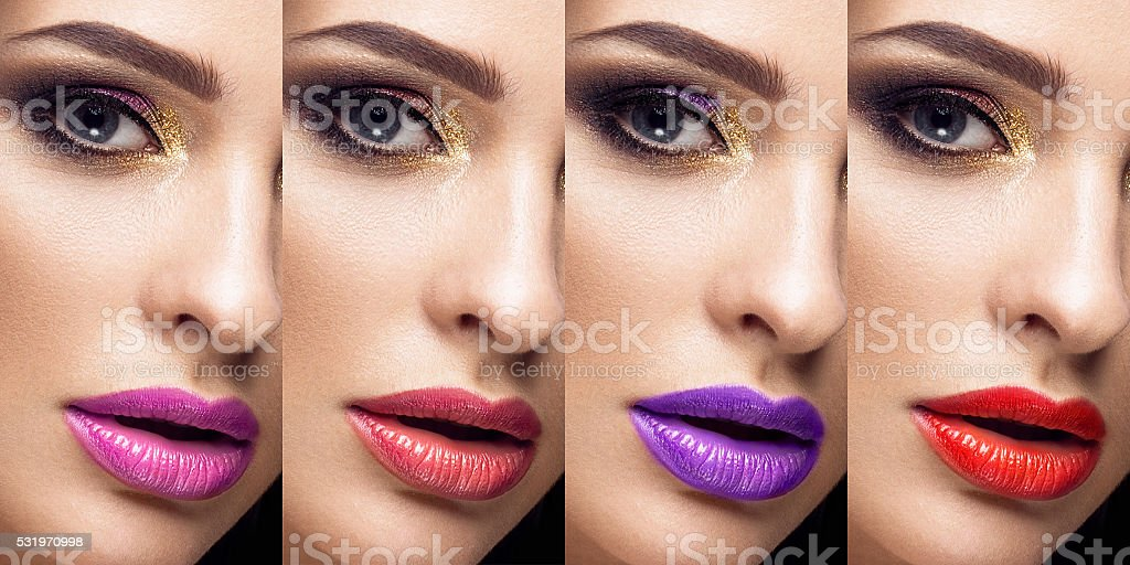 Collection: eyes and lips red, purple hues. The palette of stock photo