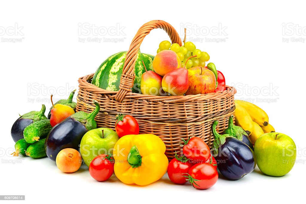 Collection Fruit And Vegetable In Basket Stock Photo